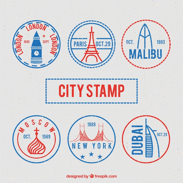Great variety of round city stamps Free Vector