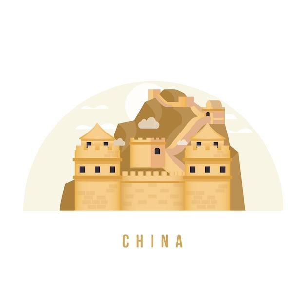 Great wall of china landmark flat illustration Premium Vector