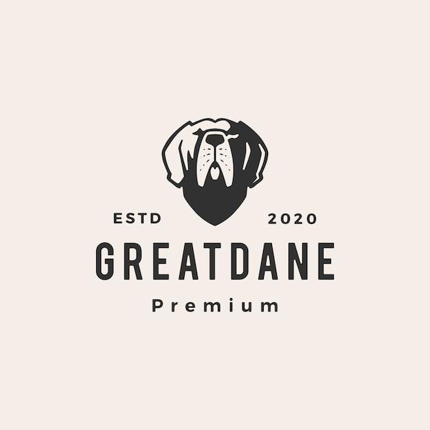 Великий датчанин хипстер старинный логотип значок иллюстрации Premium векторы