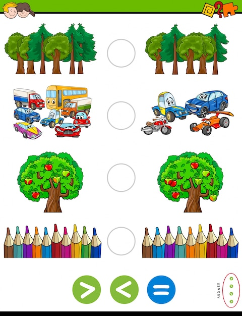 Greater less or equal cartoon game for kids Premium Vector
