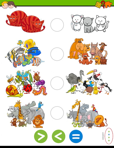 Greater than, less than or equal to task for kids Premium Vector