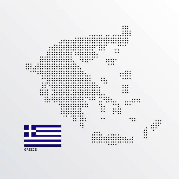 Greece Map design with flag and light background vector Vector ...
