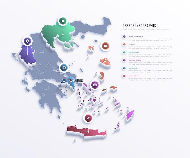 Grecia mappa infografica Vettore gratuito
