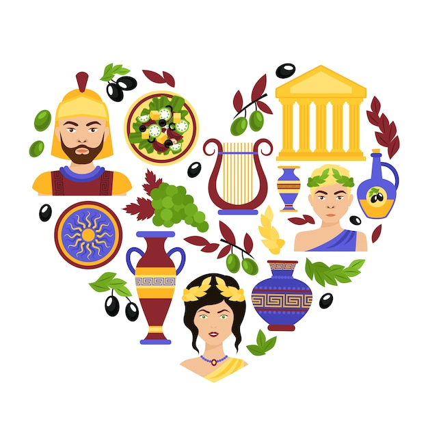 Greece symbols heart Free Vector