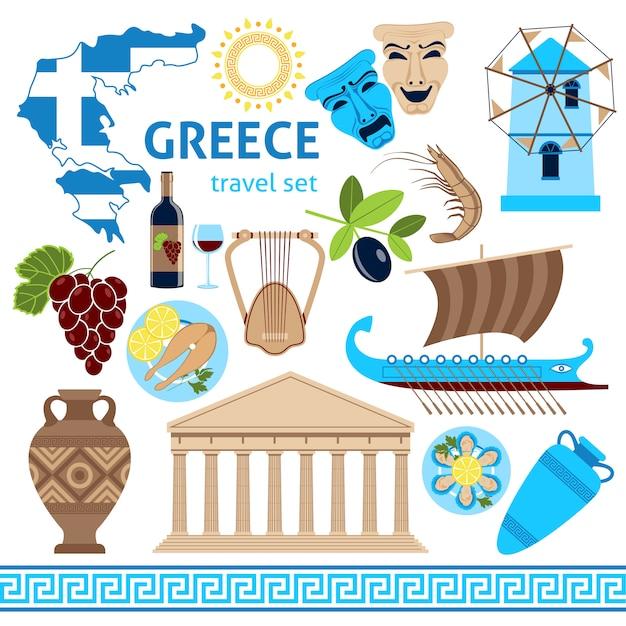 Greece symbols touristic set flat composition Free Vector