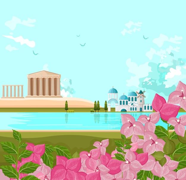 Greek architecture landscape Premium Vector