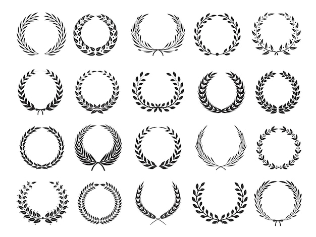 Greek branch. circle victory award wreath with leaves elleents for emblems labels Premium Vector