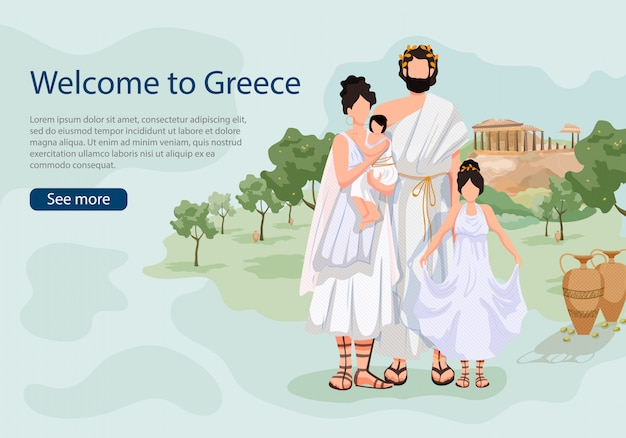 Greek family on background sights of greece landing page Premium Vector