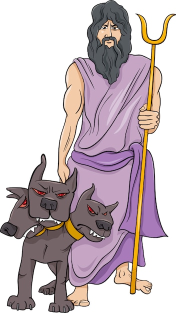 Greek God Hades Cartoon Illustration Vector Premium Download