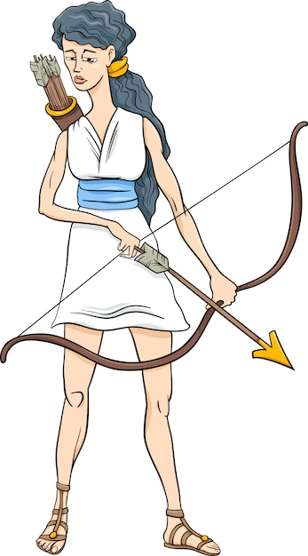 Greek Goddess Artemis Cartoon Vector Premium Download