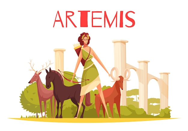 Greek goddess flat composition with cartoon characters of artemis holding bow and group of animals  illustration Free Vector