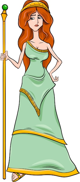 Greek Goddess Hera Cartoon Vector Premium Download