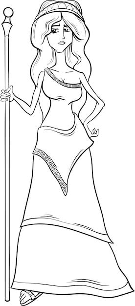 Greek Goddess Hera Coloring Page Vector