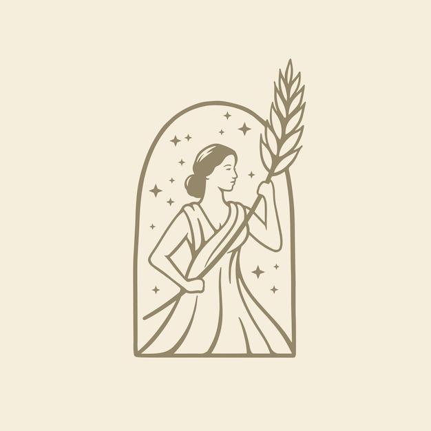 古代ローマの宗教と神話のギリシャの女神は小麦を保持しています Premiumベクター