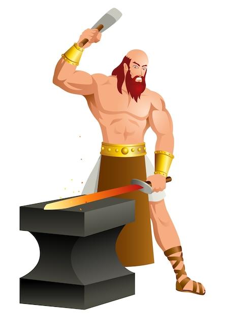 Greek gods and goddess hephaestus Vector | Premium Download