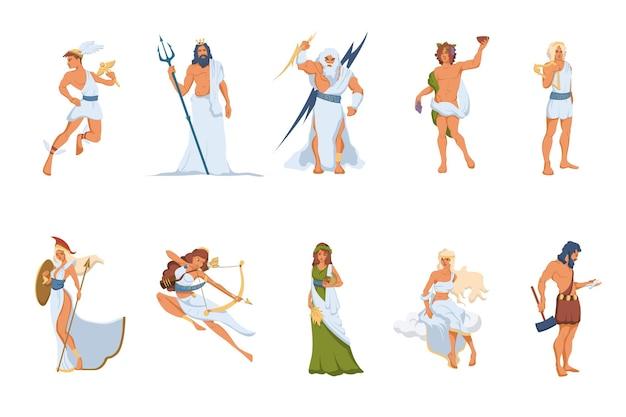 Set di divinità e dee greche. atena, hermes, venere, poseidone, zeus, dioniso, artemide, efesto, demetra, apollo Vettore gratuito