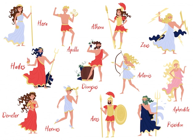 Greek gods set, hera, dionysus, zeus, demetra, hermes, ares, artemis, aphrodite, poseidon, ancient greece myths cartoon characters Premium Vector