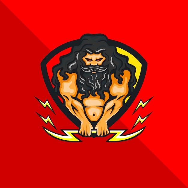 Греческая мифология зевс бог мультипликационный персонаж талисман держит гром, игровой логотип Premium векторы