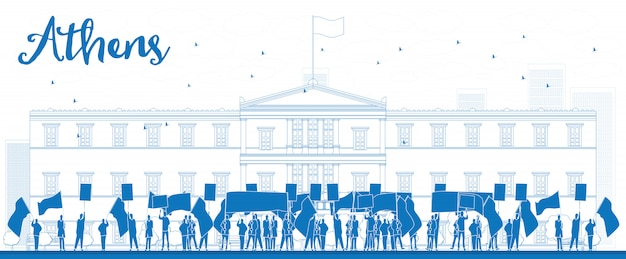 Greek protesting in front of the greek parliament in athens,greece Premium Vector