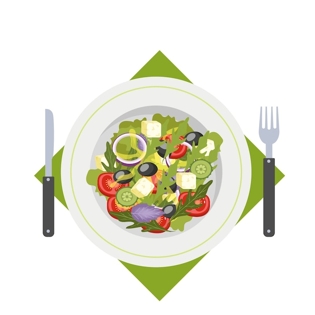 Greek salad in a plate. organic healthy food. cucumber and tomato, feta cheese and pepper.    illustration Premium Vector
