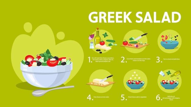 Greek salad recipe for vegetarian. healthy ingredient Premium Vector