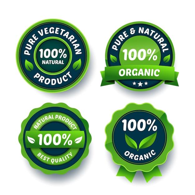 Collezione badge verde 100% naturale Vettore gratuito