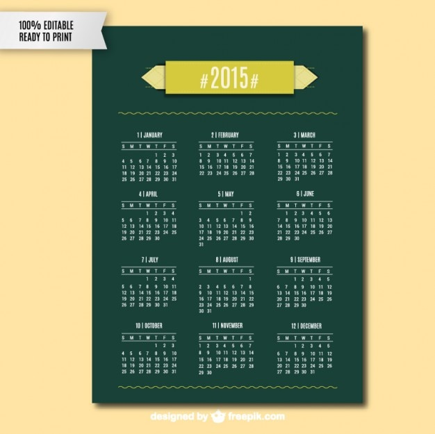 Green 2015 Calendar Vector Free Download
