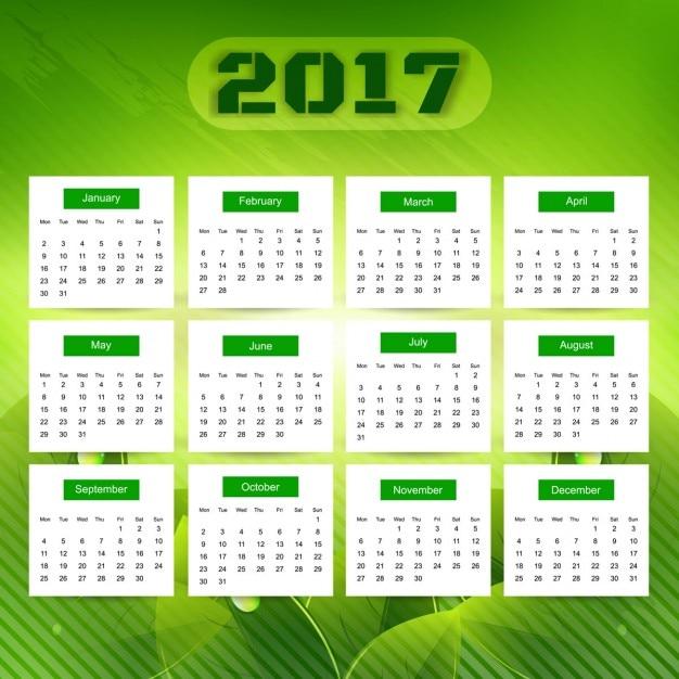 Calendar Green : Green calendar vector free download