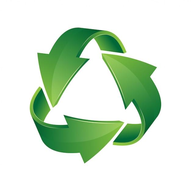 Зеленый значок 3d корзины. знак рециркуляции на белом фоне Premium векторы