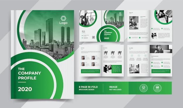 Зеленый 8-страничный дизайн бизнес брошюры Premium векторы