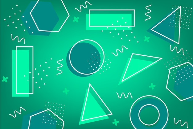 Green abstract background with different shapes Free Vector