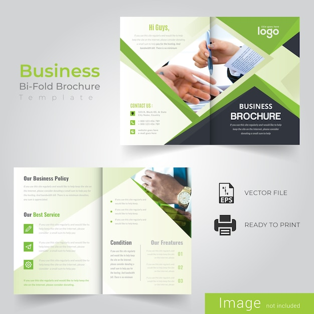 green abstract bi fold brochure design vector premium download