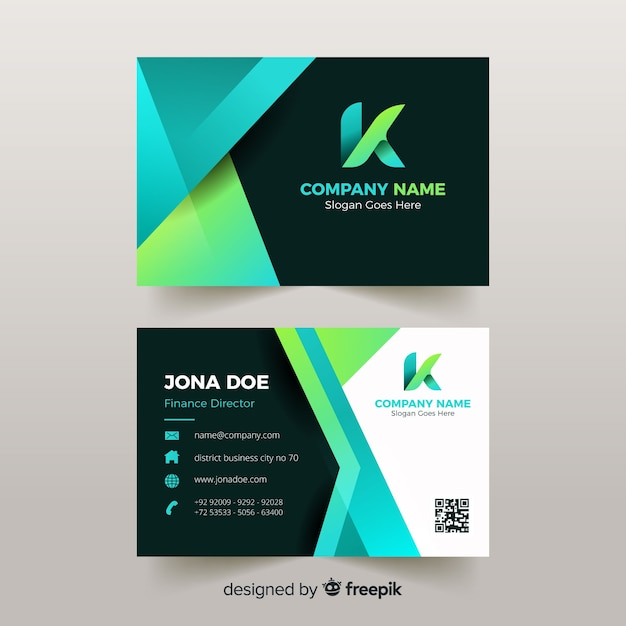 Green abstract business card template Free Vector