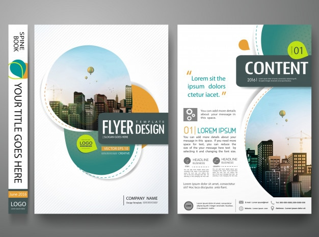 green abstract circle cover book portfolio design vector premium