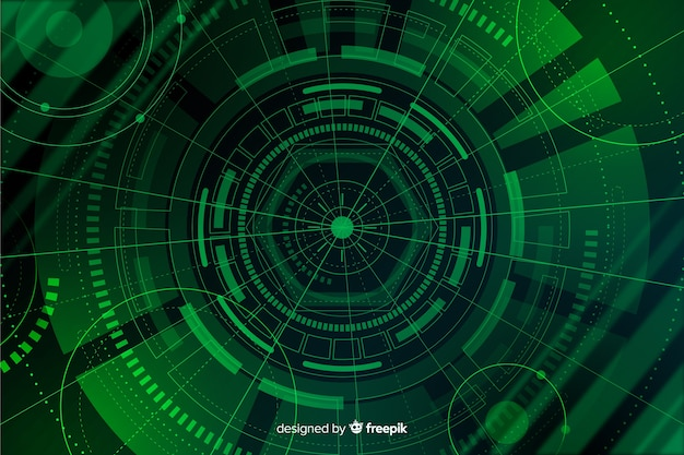 Green abstract hud technology background Free Vector