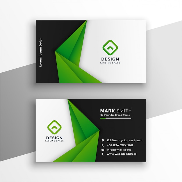 Green abstract modern business card design Free Vector