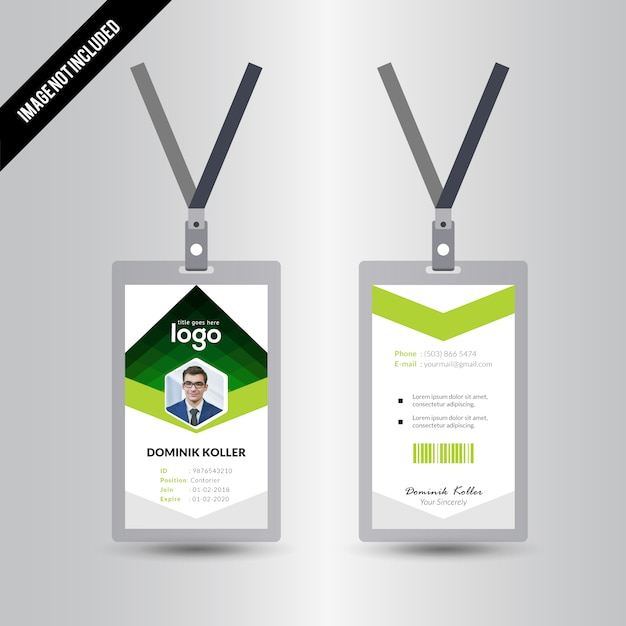 Green Abstract Simple Id Card Design Template Vector | Premium Download