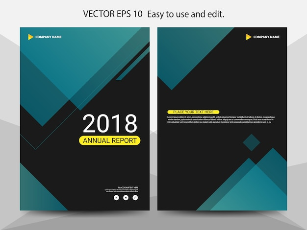Green abstract triangle annual report Premium Vector
