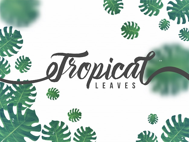 Green abstract tropical leaves decorated background Premium Vector
