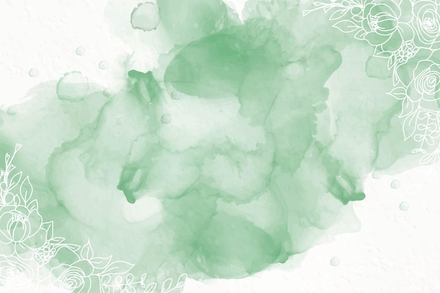 녹색 알코올 잉크 배경 무료 벡터