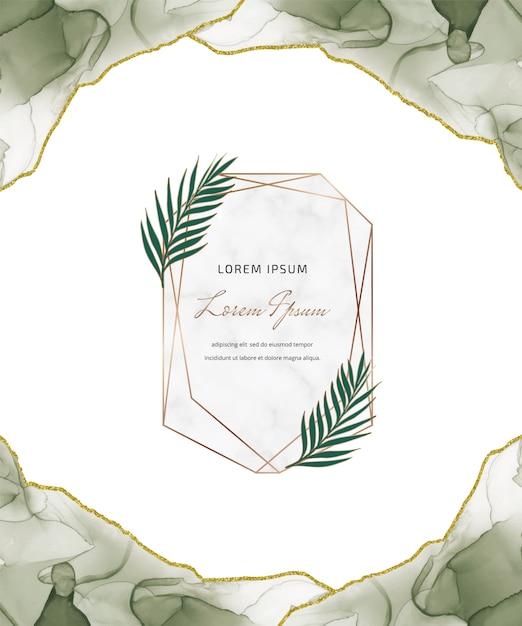 幾何学的な大理石のフレームと葉を持つ緑のアルコールインクキラキラカード Premiumベクター