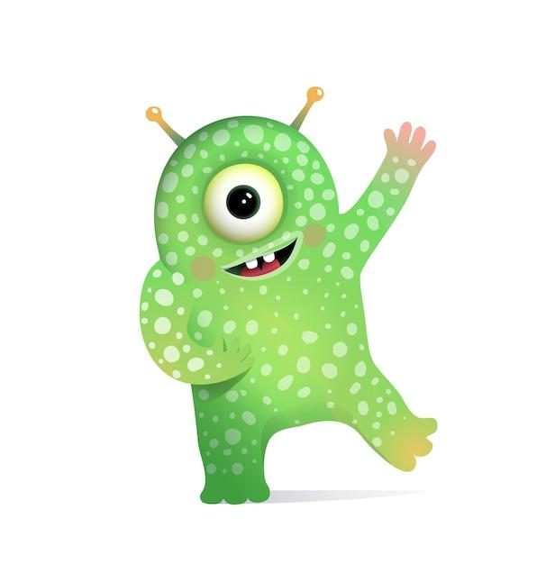 子供のためのアンテナの挨拶と緑のエイリアンモンスター。 Premiumベクター