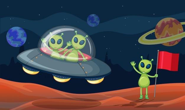 Green aliens in ufo Premium Vector
