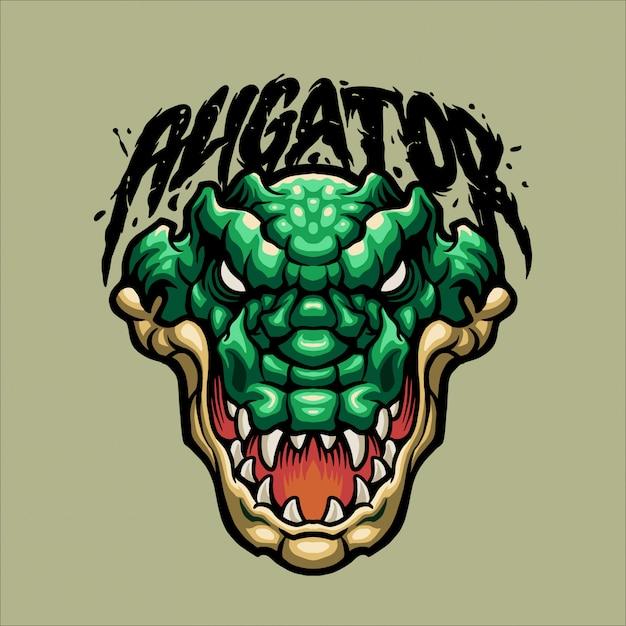 Зеленый талисман аллигатора Premium векторы