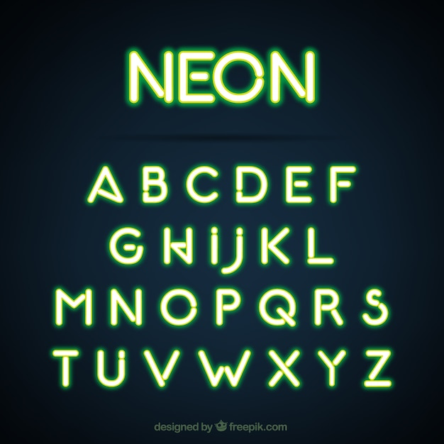 Green Alphabet Made With Neon Lights Vector