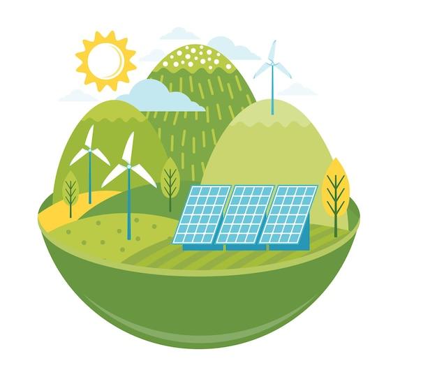 グリーン代替エネルギー。生態学的インフラストラクチャ、ソーラーパネル、風車、風力タービンを備えたフレンドリーな環境景観 Premiumベクター