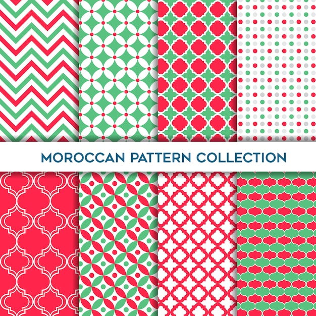 Green and amaranth set of moroccan geometric seamless patterns Premium Vector