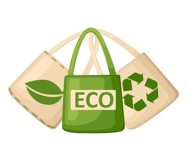 緑とベージュの布または紙バッグ。リサイクル、緑の葉、ecoシンボルのバッグ。交換用ビニール袋。地球のエコロジーを守ります。白い背景の上の図 Premiumベクター