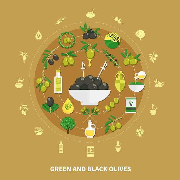 装飾、缶詰食品、油のイラストと砂の背景に緑と黒のオリーブの丸い構成 無料ベクター