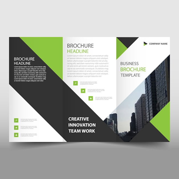 Green and black trifold leaflet template vector free for Black brochure template